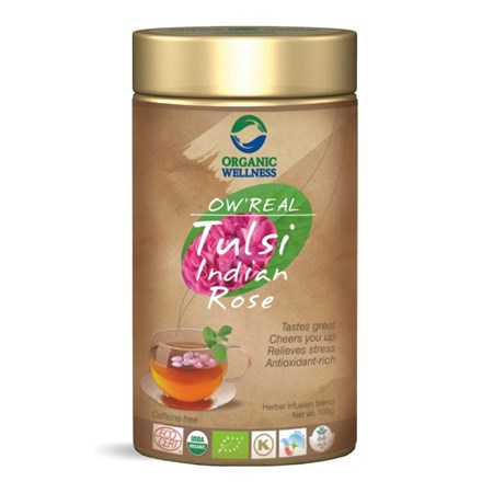 Picture of Organic Tulsi Indian Rose Tea online | OW' Real Tulsi Indian Rose Tin - 100gm