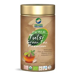Picture of Organic Tulsi Green Tea online | OW' Real Tulsi Green Tea Premium Tin - 100gm