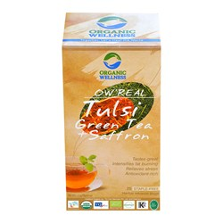 Picture of Organic Tulsi Green Tea with Saffron online | OW' Real Tulsi Green Tea + Saffron- 25 Tea Bag Box