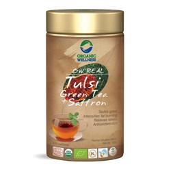 Picture of Organic Tulsi Green Tea with Saffron online | OW' Real Tulsi Green Tea + Saffron Tin - 100gm